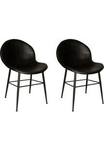 Conjunto Com 2 Cadeiras De Cozinha Dulce Corino Preto