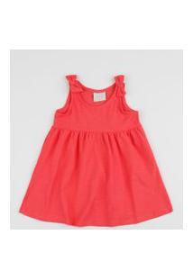 Vestido Infantil Alça Média Com Laço Vermelho