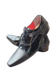 Sapato Masculino Italiano Em Couro Envernizado Oxford - Preto - Black Venice