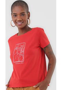 Camiseta Cantã£O Retrato Vermelha - Vermelho - Feminino - Algodã£O - Dafiti