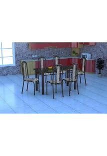 Conjunto Mesa Granada Com 6 Cadeiras Granada Preto Prata - Fabone - Assento Preto Com Listrado