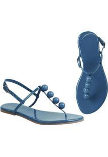 Rasteira Flat Bolinhas Mercedita Shoes Confortável Dia A Dia Casual - Feminino-Azul Claro