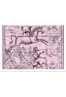 Quadro Decorativo Com Moldura Astrology Rosa E Branco (24X33)