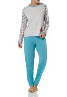 Pijama Longo Feminino Cinza/Azul