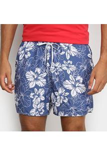 Bermuda Calvin Klein Tropical Masculina - Masculino-Azul Escuro
