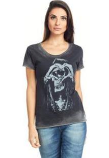 Camiseta Feminina Básica Estampada Bossa - S2 - Feminino-Preto