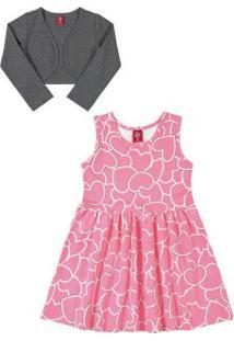 Vestido Com Bolero Infantil Rosa