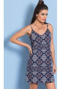 Vestido De Alças Estampado Slip Dress