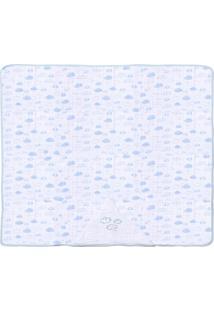 Toalha De Banho Com Capuz Avião- Branca & Azul Claropapi