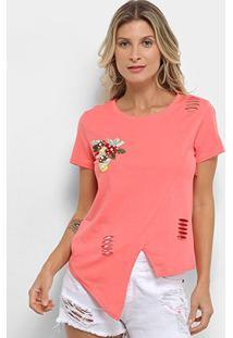 Camiseta Pérola Recorte Aplique Manga Curta Feminina - Feminino-Rosa Escuro