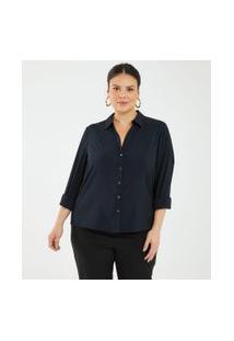 Camisa Básica Com Botões Curve & Plus Size   Ashua Curve E Plus Size   Preto   G