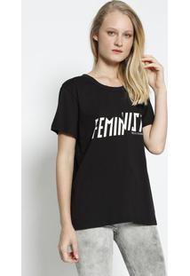 """Camiseta """"Feminist"""" - Preta & Branca - Colccicolcci"""