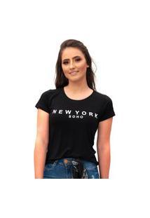 Camiseta Miss Glamour Store New York Preta