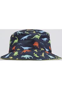 Chapéu Infantil Estampado De Dinossauros Azul Marinho