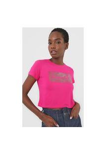 Camiseta Cropped Aeropostale Logo Pink
