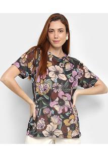 Camiseta Cantão Floral Feminina - Feminino-Preto