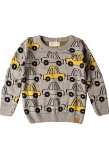 Casaco Suéter Infantil Mini Lord Tricô Yellow Car Cinza