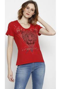 """Camiseta """"Tropical"""" Com Vazados- Vermelha & Preta- Ccoke Star"""