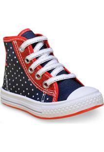 2bad4634f46 Tenis Fem Infantil Star Chic 4230 Jeans Poa Vermelho