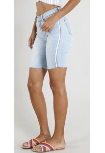 Bermuda Jeans Feminina Ciclista Com Faixa Lateral Azul Claro