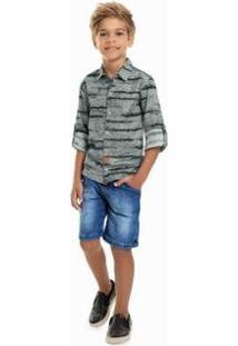 Camisa Infantil Quimby Estampada Masculina - Masculino-Cinza