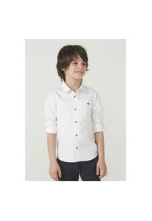 Camisa Hering Kids Manga Longa Em Tecido De Algodáo Branco