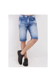 Bermuda Jeans Estonada Masculina Azul