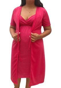 Conjunto Camisola De Alcinha Amamentação Com Robe Maternidade Linda Gestante - Unissex