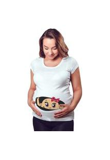 T-Shirt Criativa Urbana Rendada Gestante Mãe Menina Bebe Espiando Branco