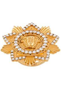 Versace Anel Medusa Star Com Aplicação De Cristais - Dourado