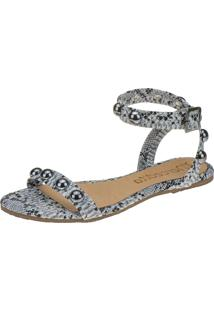 Rasteira Mercedita Shoes Cobra Preta Branca Tira Cruzada Animal Print Com Esferas Ônix