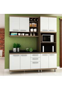 Cozinha Compacta New Vitoria 13 Avelã Tx/Bianco - Hecol