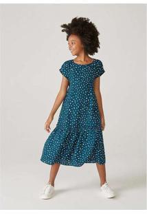 Vestido Infantil Evasê Midi Estampado Mini Me Verd