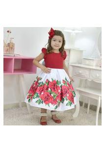 Vestido Infantil Floral Branco E Vermelho, Daninha Ou Casamento