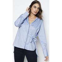 af1c0a68d Camisa Com Amarração - Azul Claro   Branca - Dudalindudalina
