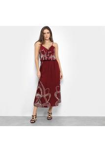 Vestido Ms Fashion Midi Estampado - Feminino-Vinho