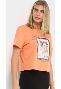 Camiseta Sommer Estampada Feminina - Feminino-Laranja Claro