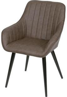 Cadeira Lounge Com Braco Courino Cafe E Costura Vertical - 50014 - Sun House