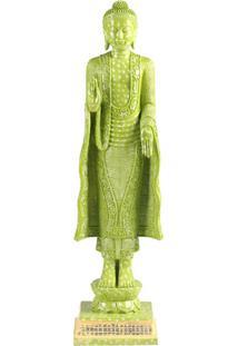 Escultura Decorativa De Resina Buddah Verde
