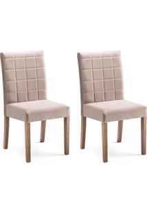 Conjunto Com 2 Cadeiras De Jantar Mara Marrom Claro E Imbuia