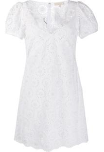 Michael Michael Kors Vestido Mini Gola V - Branco