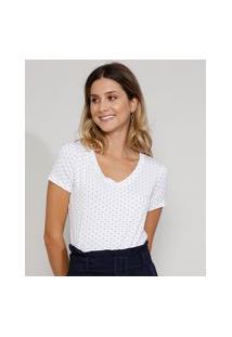 Camiseta Feminina Básica Estampada De Poá Manga Curta Decote V Branca