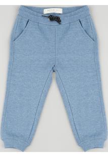 Calça De Moletom Infantil Básica Com Bolsos Azul