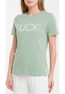 Camiseta Baby Look New Year Luck - Verde Claro - P