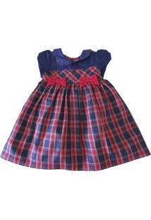 Vestido Póssum Festa Bebê Em Tricoline Xadrez Marinho E Vermelho