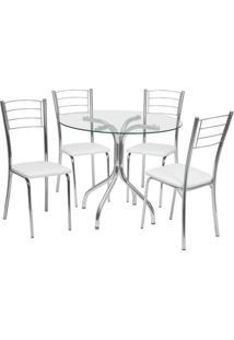 Conjunto De Mesa Com 4 Cadeiras Yohana Corino Cromado