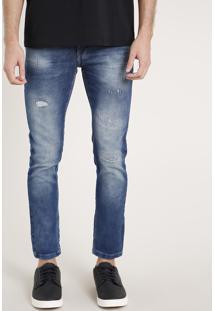 Calça Jeans Masculina Skinny Cropped Com Puídos Azul Médio
