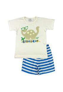 Pijama Infantil Ano Zero Menino Meia Malha E Malha Listrada Silk Refletivo Dinosaur - Azul