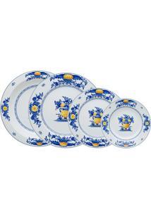 Aparelho De Jantar Viana Porcelana 24 Peças Branco Azul E Amarelo Vista Alegre Atlantis