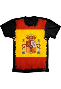 Camiseta Baby Look Lu Geek Flag Espanha Preto